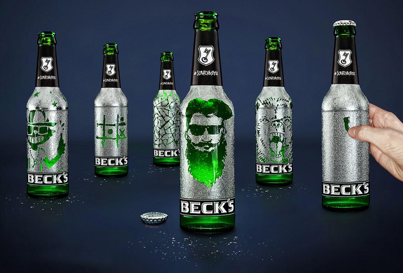 etiquette biere a gratter becks