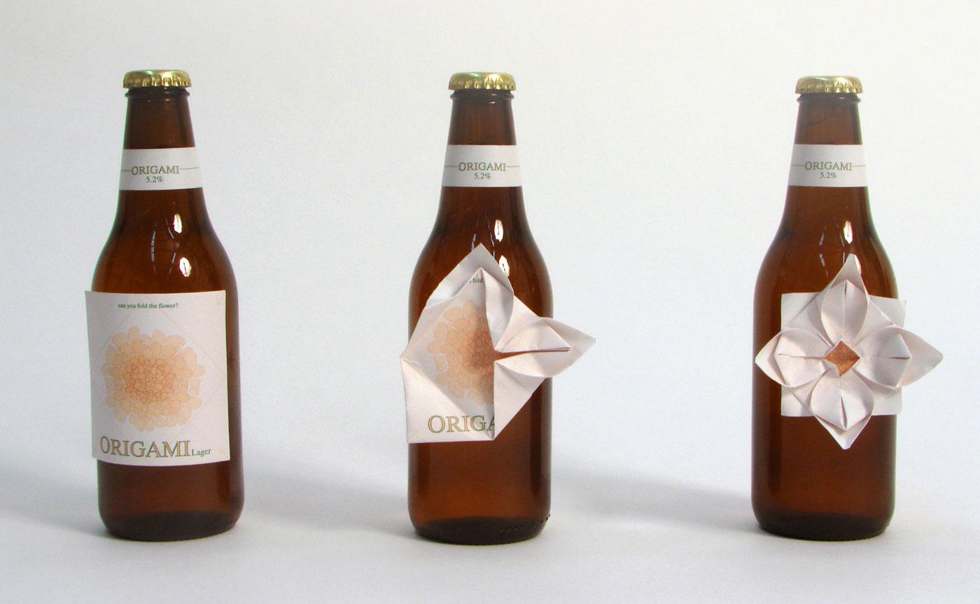 etiquette biere origami clara lindsten