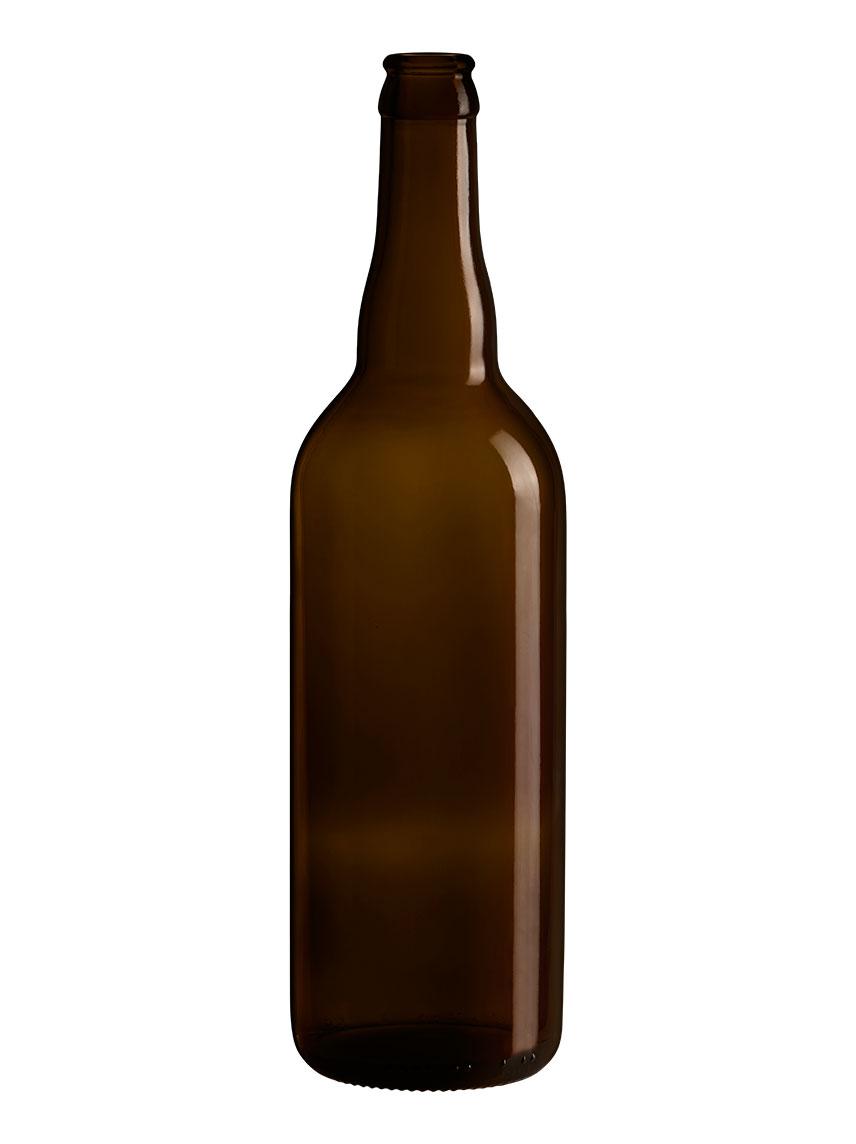 Bouteille de bière en verre 75 Cl capsule Couronne 26
